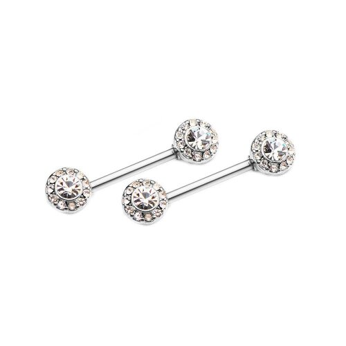 Pair of Nipple Barbells with Forward Facing Outrim Clear CZ