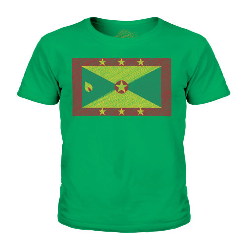 (Irish Green, 3-4 Years) Candymix - Grenada Scribble Flag - Unisex Kid's T-Shirt