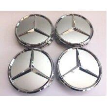 Mercedes Benz Silver Alloy Wheels Centre Caps 75MM A B C E S CLASS x 4