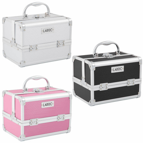 (Pink) Aluminium Professional Cosmetic Makeup Vanity Travel Case Storage Nail Carry Box
