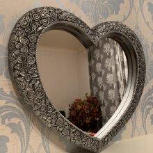 Antique style heart shape wall mirror 67x58cm