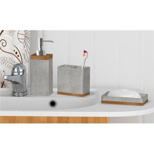 NuSteel CON-346-SET3 3 Piece Concrete Set Bath Collection  Stone Grey