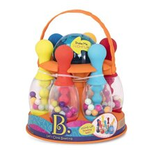 B. Toys by Battat BX1884C1Z Let's Glow Multicoloured Six Pin Toy Bowling Set with Flashing Light-Up Ball and Carrying Caddy for Kids Ages 2