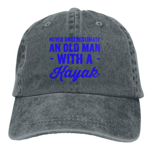 Blue Never Underestimate An Old Man With A Kayak Denim Baseball Caps