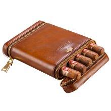 COHIBA Leather 5 Tube Cigar Travel Case Holder