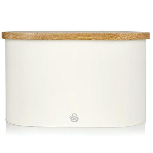 (White) Swan Nordic Oval Bread Bin with Cutting Board Lid