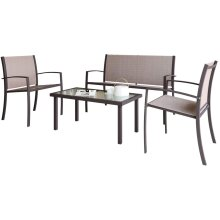 4 seater Living Room Sofa Sets, Metal Frame with coffee table Brown