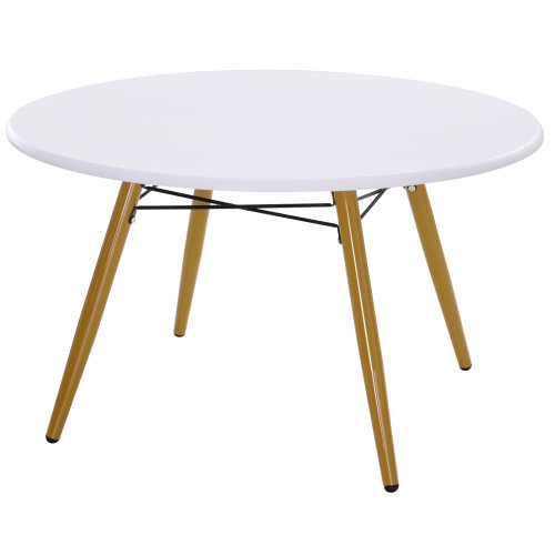 HOMCOM Modern Round Coffee Tea Table White Side End Living Room Storage Unit
