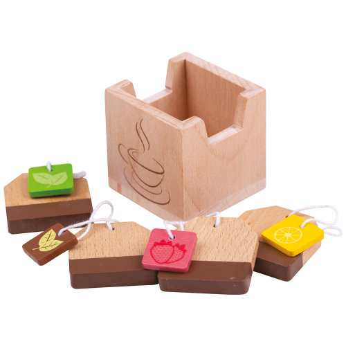 Bigjigs Toys Wooden Pretend Play Tea Bags - Children's Roleplay Food Kitchen Accessories