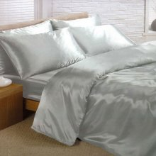 Silver Satin Double Duvet Cover, Fitted Sheet and 4 Pillowcase Bedding Set - Used
