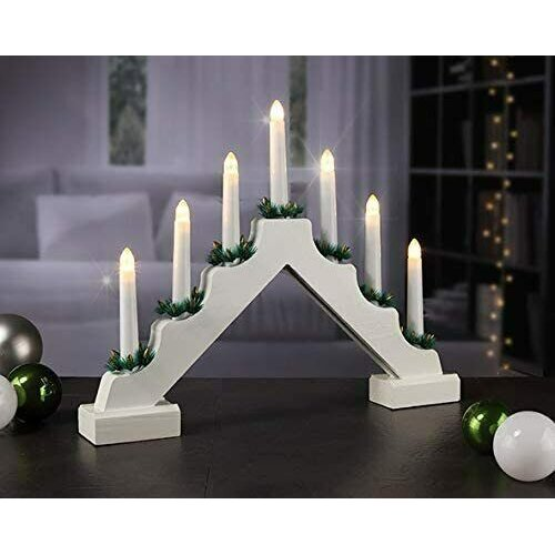 (Traditional Wooden Candle Bridge Light 7 Bulb Window Christmas Decorations Arch) Wooden Candle Bridge Light 7 Bulb Christmas Arch