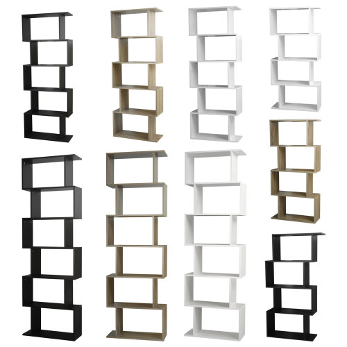 Wooden S-Shaped Display Bookcase Storage Divider