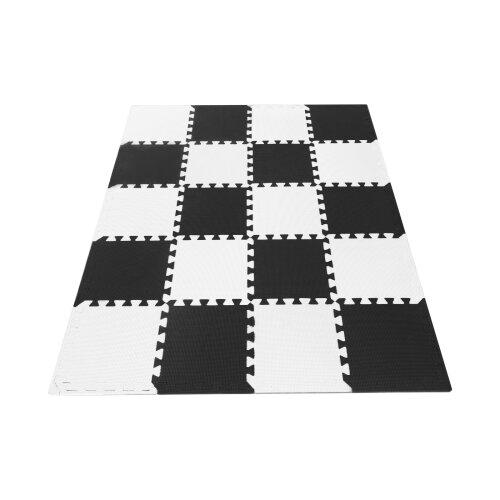 (Black+white) 20 Large EVA Soft Foam Kids Floor Mat Jigsaw Tiles Interlocking Garden Play Mats