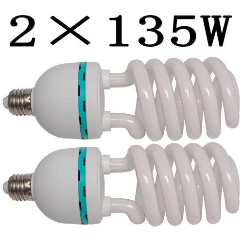 2 Continuous Photo Daylight White E27 Lighting Lamp Bulbs 135W 5500k Professional Fluorescent Balanced Energy Saving Bulbs for Photography and Video