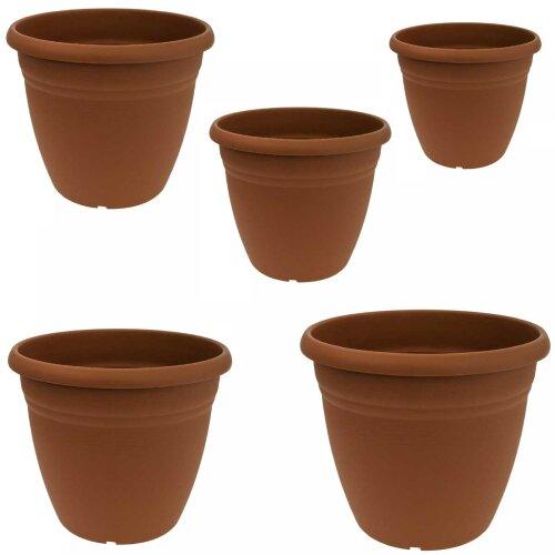 Terracotta Colour Durable Round Plastic Plant Flower Planter Planting Garden Pot