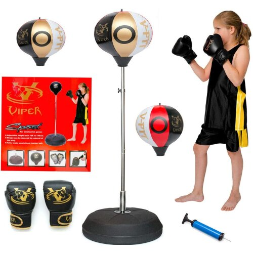 Viper Kids/Junior/Children Free Standing Punch Boxing Bag Set Toy 4FT with Free Gloves White/Gold