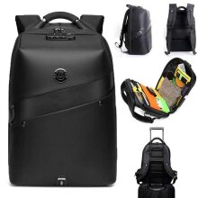 Travel Business Backpack, Anti-Theft Lock, USB Charging Audio Port