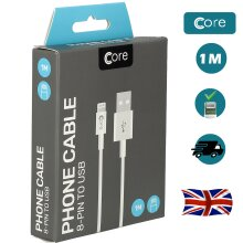 Genuine Core USB Cable for iPhone 12 11 X 8 7 6S 6 SE iPad 1m White