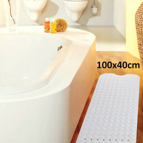 Non-Slip Extra Long Bath Shower Mat Suction Grip 30% Longer suction
