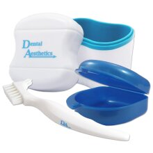 Dental Bath, Retainer Case and Brush ~ Storage Case and Container for Soaking and Cleaning Ortho Retainers (Blue Bath, Blue Case)