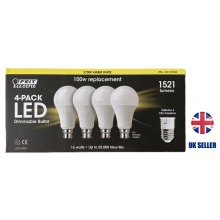 Bulbs B22/E27 dimmable LED 100Watts Pack of 4 Dimmable FEIT 1521 Lm