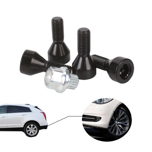 Locking Wheel Bolts,Tapered Seat (Black) For BMW E46 E87 E60 E90 E92