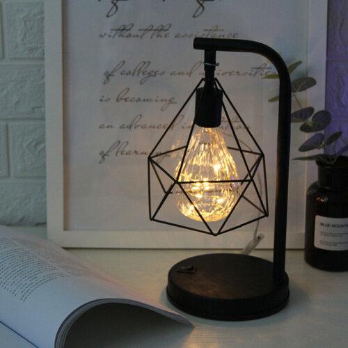 Retro Black Industrial LED Geometric Lamps Desk Lights BedSide Table