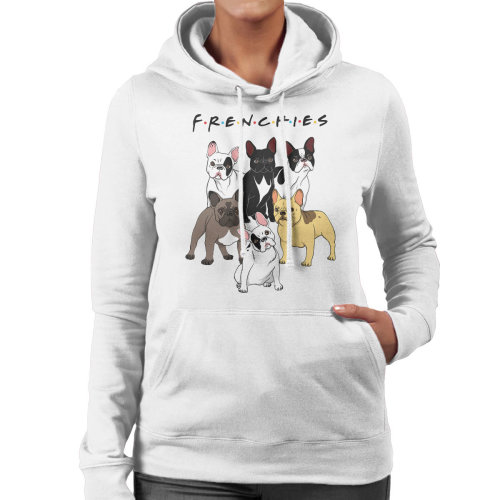 (Medium, White) Friends French Bulldog Mashup Women's Hooded Sweatshirt