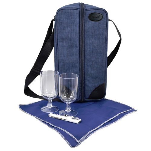 GEEZY 2 Person Insulated Denim Wine Bottle Cooler with Accessories