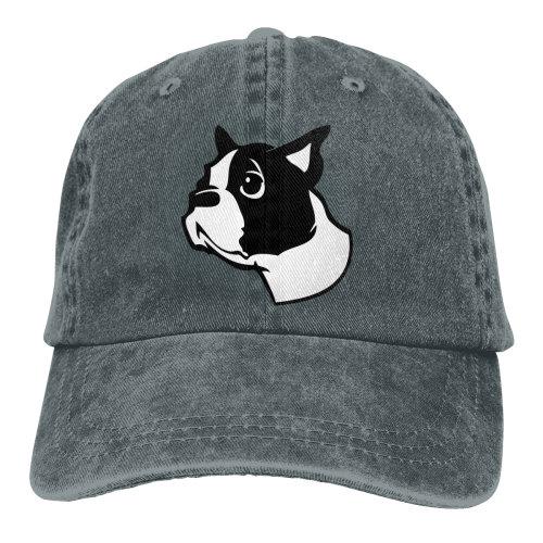 Boston Terrier Denim Baseball Caps