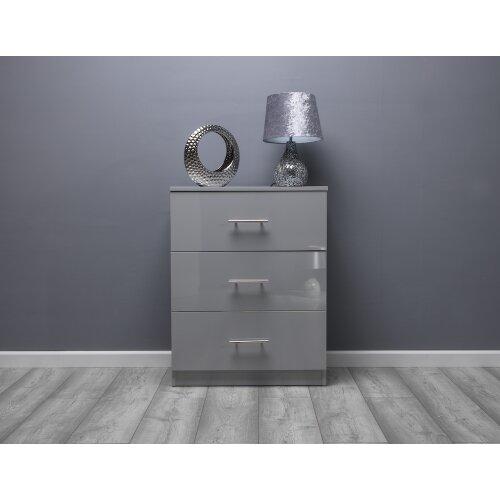 (Grey Gloss) Helston 3 Drawer Chest of Drawers High Gloss
