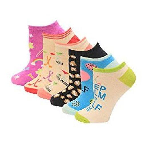 Women's Crew Socks - K Bell - Lucky Golf Socks Six Pair PackPurple Assorted (7-8.5)