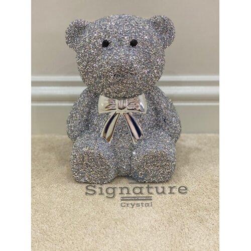 XL Crushed Diamond Silver Shine Teddy Bear Sparkle Bling Ornament