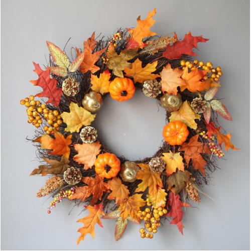 45CM Home Decor Fall Door Pumpkin Wreath Autumn Color Maple Leaf Garland UK