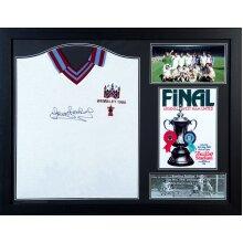 Framed Trevor Brooking 1980 signed West Ham Cup Final shirt with COA