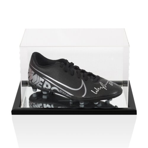 Wayne Rooney Signed Football Boot - Nike Black - In Acrylic Display Case