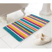 Country Club Bath Mat, Multicolour Bright Stripe, Polyester and Cotton, 74 cm x 45 cm