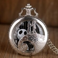 Silver/Black/Bronze The Nightmare Before Christmas Pocket Watch Jack Skellington Tim Burton Movie Kid Pendant Necklace Clock