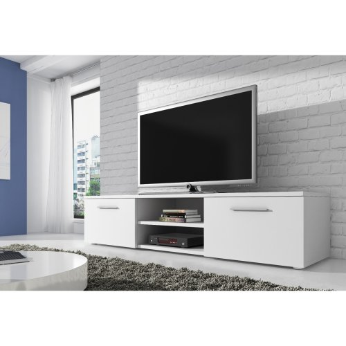 "(White, Matte) TV Unit Cabinet Stand Sideboard ""VEGAS"" - 150 cm"