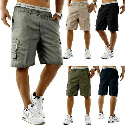 (Black, M) Mens Elasticated Cargo Shorts Summer Casual Cotton Combat Half Pants comfort UK