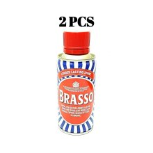 2 PCS BRASSO METAL POLISH BRASS COPPER STEEL CHROME LASTING SHINE LIQUID 175 ML EACH
