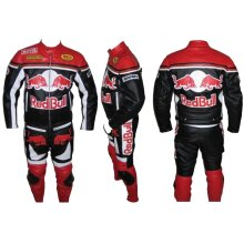 REDBULL Bike Racing Suit Cowhide Leather Motorcycle Motorbike Bikers Racing Sports Two 2 Piece Zip Up Suit (Jacket+Trouser) Red/Black and White