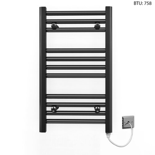 (300 x 600mm) Black Electric Bathroom Towel Rail Radiator