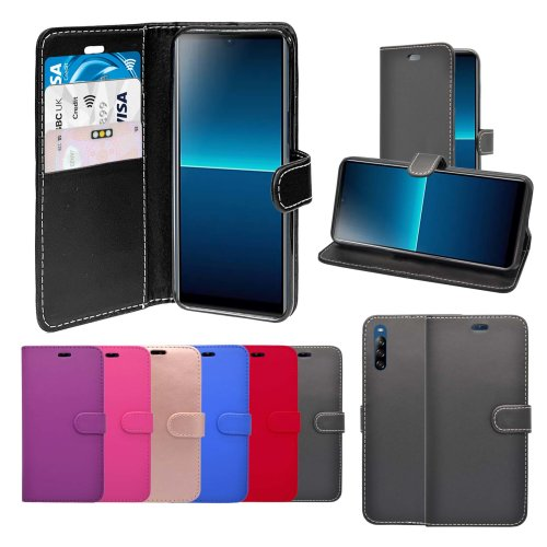 (Black) For Sony Xperia L4 Wallet Flip PU Leather Pouch Case Cover