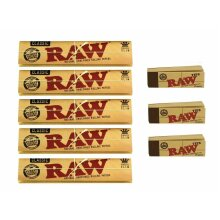 RAW CLASSIC KING SIZE SLIM 110MM ROLLING PAPER with RAW ROACH FILTER TIPS