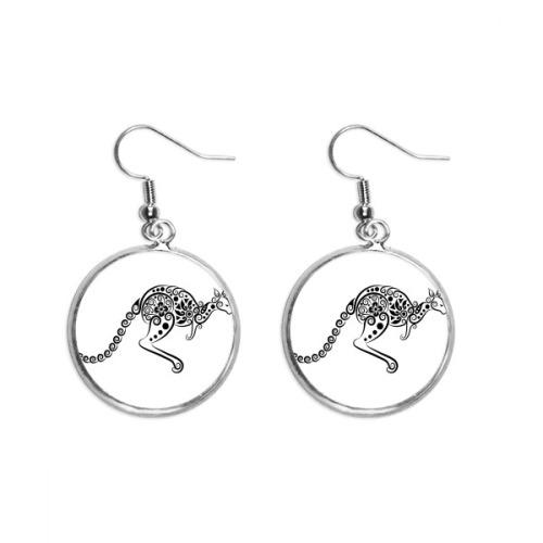 Australia Flavor Kangaroo Skeleton Illustration Ear Dangle Silver Drop Earring Jewelry Woman