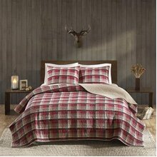 Woolrich Reversible Quilt Cabin Lifestyle Design All Season, Breathable Coverlet Bedspread Bedding Set, Matching Shams, King/Cal King110x96, Plaid Red
