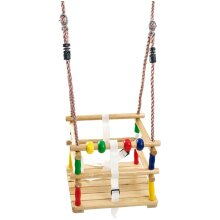 Hardwood Baby Swing Seat (Beech) with Safety Harness and Play Beads Lovely Cradle Swing for Garden or Nursery