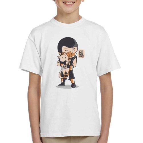 (Medium (7-8 yrs), White) Cute Scorpion Get Over Here Mortal Kombat Kid's T-Shirt