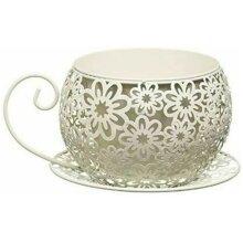 Shabby Metal Chic Vintage Garden Tea Cup Saucer Planter Pot Holder